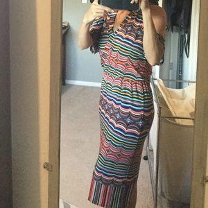 Cold shoulder multi color dress
